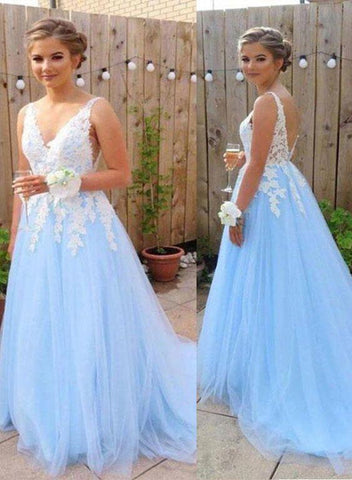 Charming Light Blue V-neckline Tulle Prom Dress with Applique, Lovely Formal Gown 2019
