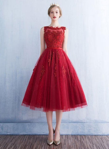 Dark Red Tulle Round Neckline Tea Length Party Dress, Short Homecoming Dress Prom Dress