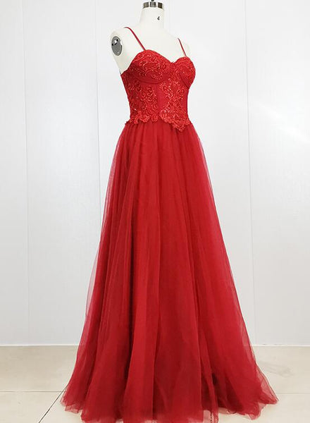 Red Tulle Sweetheart Straps Long Party Gown, Red Prom Dress 2020