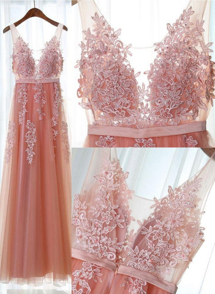 pink tulle long prom dress