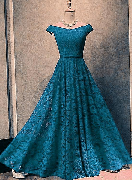 Blue Lace Long Bridesmaid Dress, Off Shoulder Prom Dress