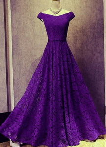 purple lace long party dress
