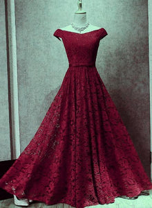 Dark Red Lace Off Shoulder Bridesmaid Dress