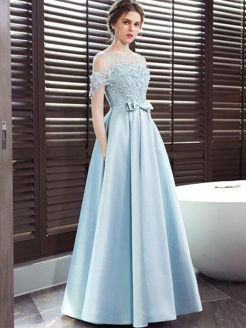 Blue Satin A-line Lace Off Shoulder Floor Length Party Dress, Blue Prom Dress Evening Dress