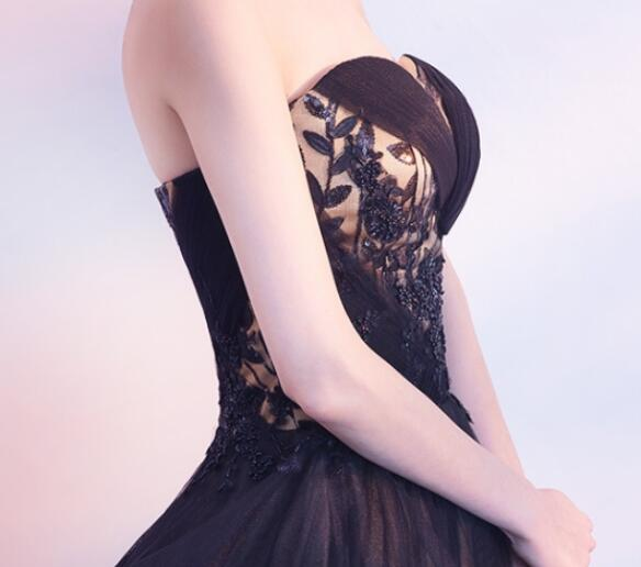 Beautiful Black and Champagne Tulle Sweethart Party Dress, Black Gown 2020