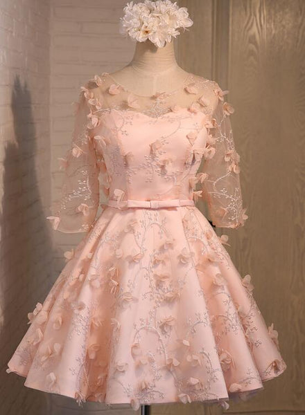 Lovely Pink Lace Short Sleeves Wedding Party Dress, Pink Homecoming Dress