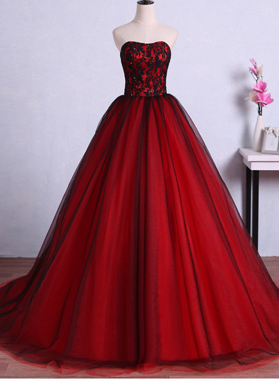 red and black sweet 16 gown