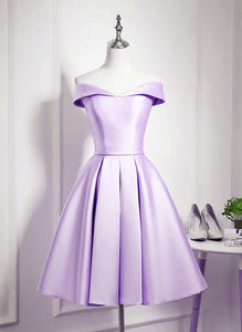 Charming Purple Satin Knee Length Homecoming Dress, Off Shoulder Bridesmaid Dress