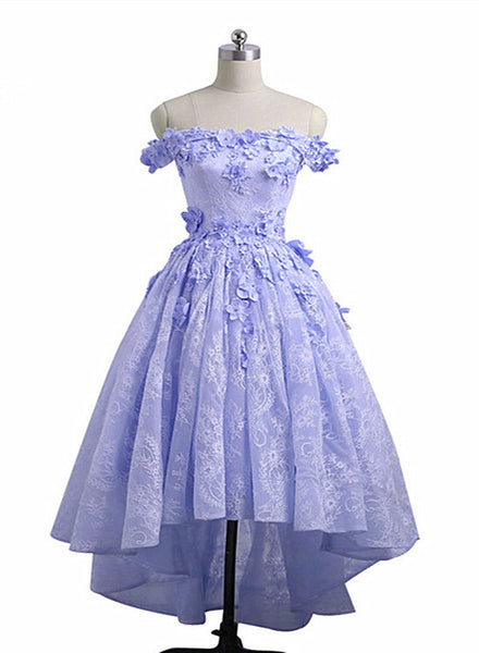 Lovely Lavender High Low Lace Party Dress, Cute Off Shoulder Prom Dress 2020