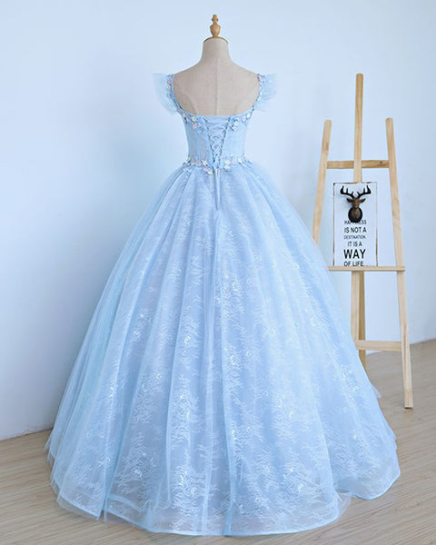 Lovely Light Blue Lace Cap Sleeve Sweet 16 Prom Dress, Evening Dress 2020