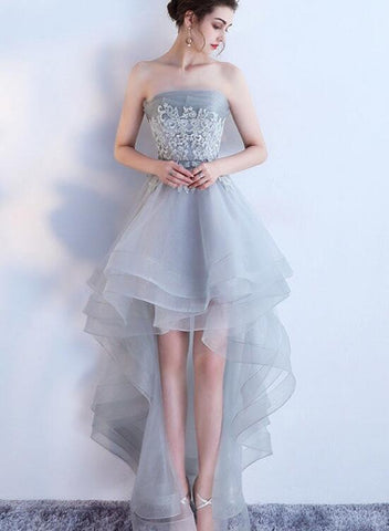 Fashionable Grey Tulle High Low Party Dress, Short New Prom Dress