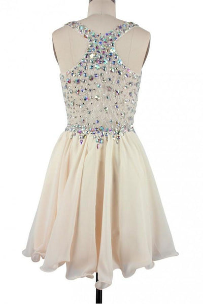 Cute Champagne Short Beaded Party Dress, Short Prom Dress 2020