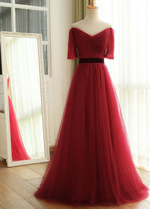 wine red off shoulder tulle prom dress 2020