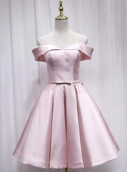 Pink Off Shoulder Bridesmaid Dress, Lovely Party Dress 2019