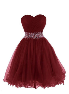 wine red tulle short prom dress
