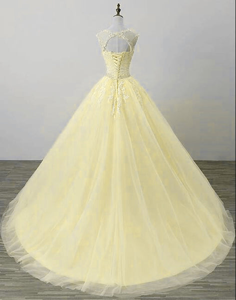 Beautiful Yellow Tulle Long Party Dress 2020, Yellow Sweet 16 Dress