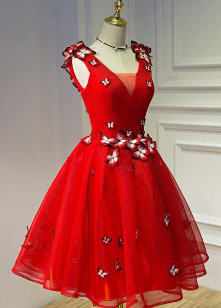 Beautiful Red Tulle V-neckline Short Prom Dress 2020, Red Party Dress
