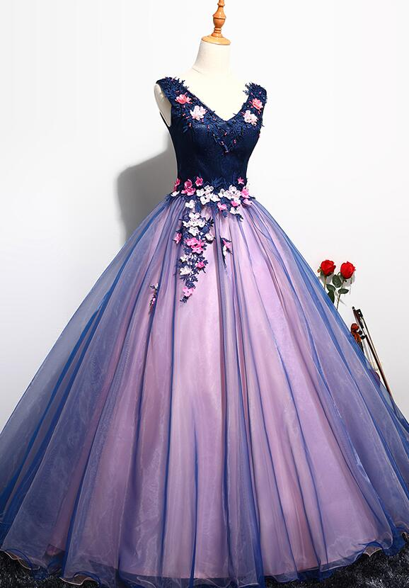 Lovely Organza Pink and Blue Flowers Sweet 16 Gown, Long Formal Gown