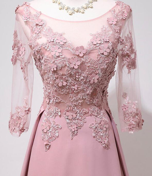 Elegant Pink Long Sleeves Lace Applique Long Party Dress, Pink Prom Dress 2020