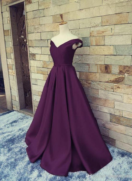 Beautiful Satin Off the Shoulder Long Party Dress, Junior Prom Dress