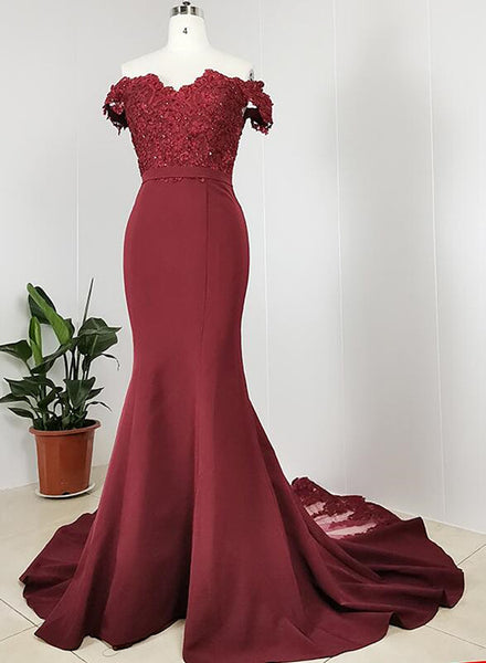 High Quality Handmade Dark Red Off Shoulder Bridesmaid Dress, Evening Dress