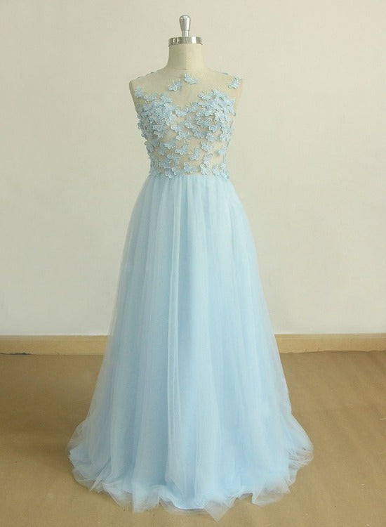 A-line Light Blue Tulle Floor with Lace Applique Party Dress, Long Formal Dress