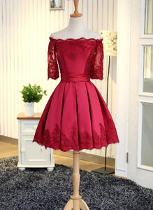 Lovely Wine Red Short Sleeves Satin and Lace Party Dress, Burgundy Homecoming Dress