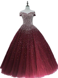 Gorgeous Sparkle Burgundy Off Shoulder Sweet 16 Gown, Burgundy Prom Dress