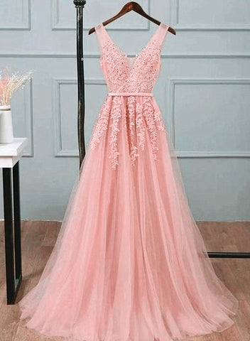 Pink Tulle A-line Simple Long Party Dress, A-line Prom Dresses Evening Dress