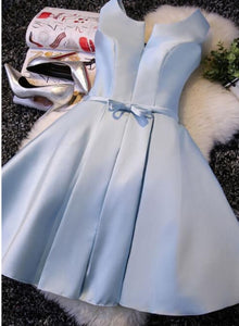 blue satin homecoming dress