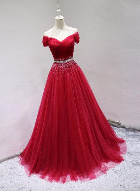Elegant Tulle Red Formal Gown 2019, Red Party Dresses 2019, Beaded Prom Dress