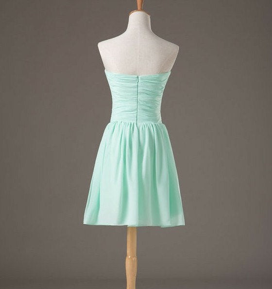 Cute Sweetheart Mint Green Knee Length Bridesmaid Dress, Chiffon Party Dress