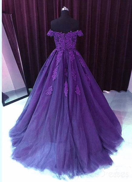 Beautiful Dark Purple Tulle Junior Prom Dress, Long Party Dress with Applique