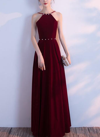 wine red halter prom dress