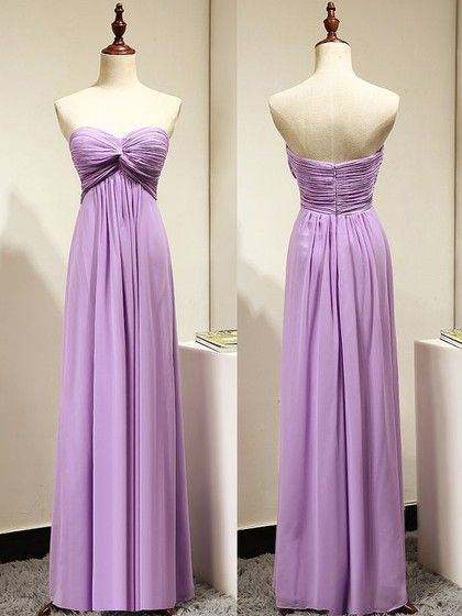 Light Purple Empire Sweetheart Bridesmaid Dresses with Ruching, Simple Chiffon Prom Dress
