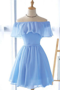 Lovely Blue Short Chiffon Off Shoulder Party Dress, A-line Prom Dress