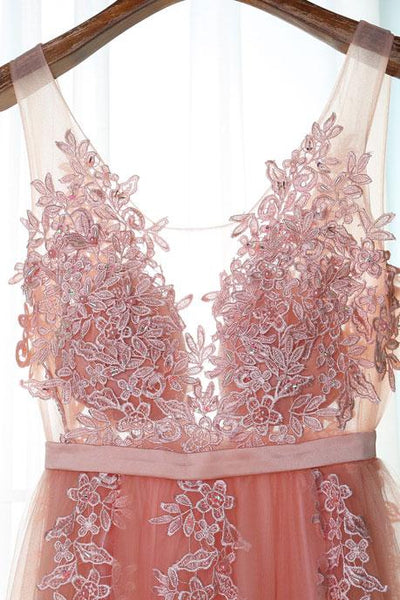 Beautiful Pink Long New Prom Dress, Party Dress with Lace Applique