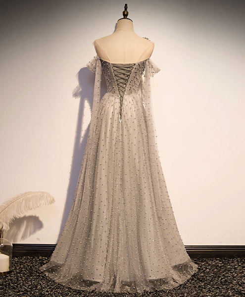 Grey One Shoulder Pearls Tulle Long Evening Dress, Light Grey Party Dress Formal Dress