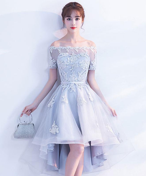 Grey Short Sleeves Tulle with Lace High Low Party Dress, Light Grey Homecoming Dress