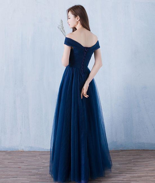 Lovely Navy Blue Tulle Off Shoulder Long Prom Dress 2019, Tulle Bridesmaid Dresses 2019