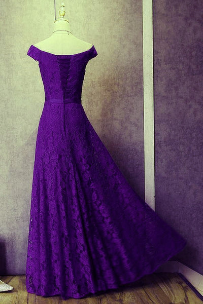 Elegant Purple Lace Long A-line Bridesmaid Dress, Lace Evening Gown
