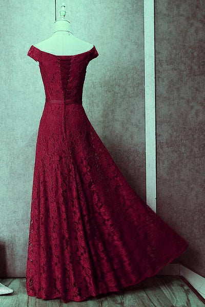 Dark Red Lace Off Shoulder Bridesmaid Dress, Long Prom Dress