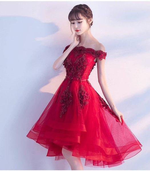 Dark Red Off The Shoulder Lace Appliques, High Low Prom Dresses for Sale