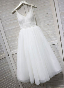 Pretty White Tulle Lace Straps Prom Dress, White Tulle Lace Tea Length Wedding Dress