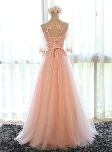 Pink 1/2 Sleeves Tulle Round Neckline Long Party Dress, A-line Prom Dress