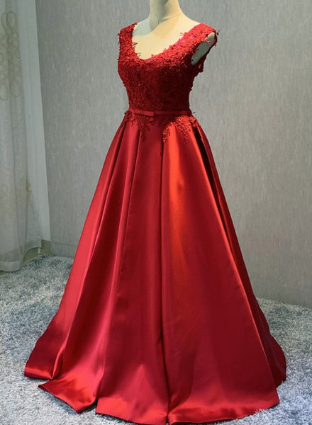 Red Satin V-neckline Floor Length New Style Prom Dress, Backless Red Party Dress