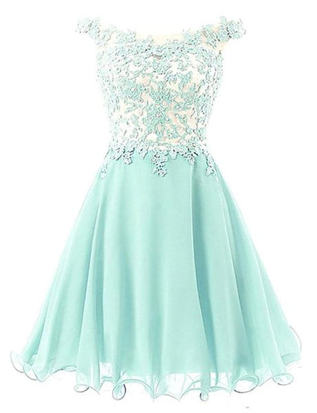 Cute Chiffon and Lace Homecoming Dress, Lovely Off Shoulder Party Dress