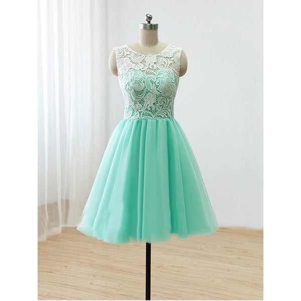 Beautiful Mint Green Tulle Round Knee Length Party Dresses, Mint Green Bridesmaid Dresses 2019