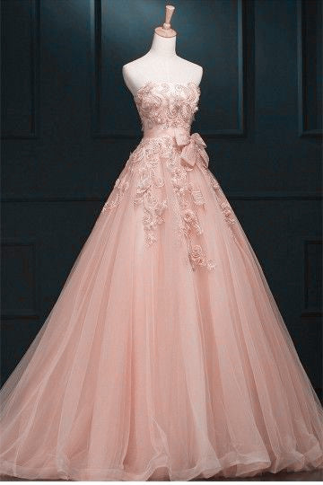 Charming Pearl Pink Tulle Sweet 16 Gown with Lace, Long Party Dress