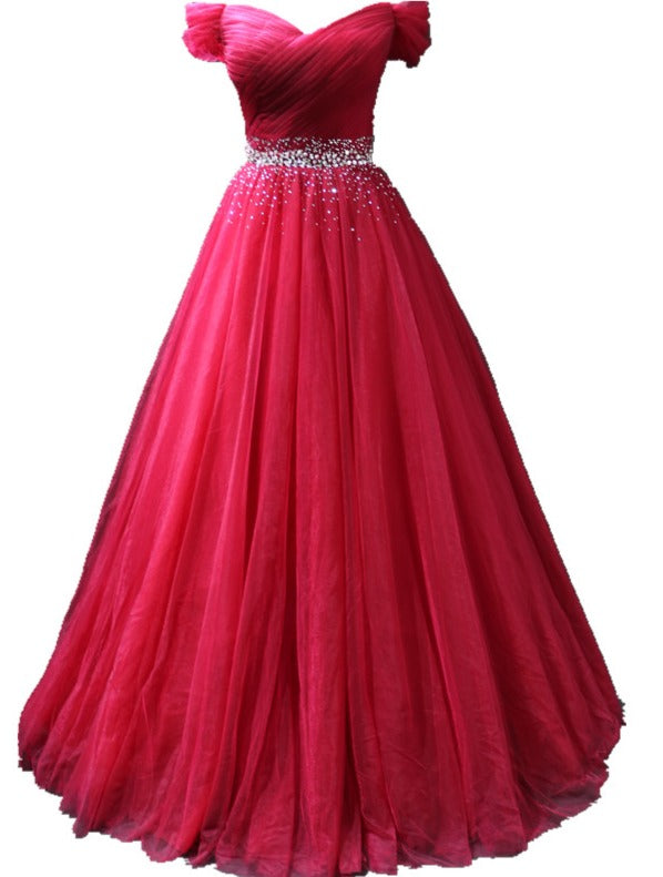 Red Off Shoulder Beaded Long Formal Gown, Chic Tulle Sweetheart Prom Dress Party Dress